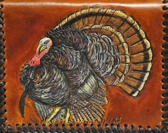 Wild Turkeys handcarved on Men's Credit Card Wallet