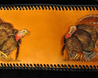 Men's Handcarved leather wallet with wild turkeys