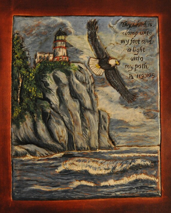 Handcarved Bible Cover Lighthouse and Eagle