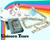 Unicorn Tears in Glass Heart Bottle with Gold Chain and Unicorn Hair