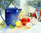 """Cobalt Coffee Pot, Apple and Lemons -  Matted PRINT of Watercolor by Ginny Wall  """"This New Day"""""""