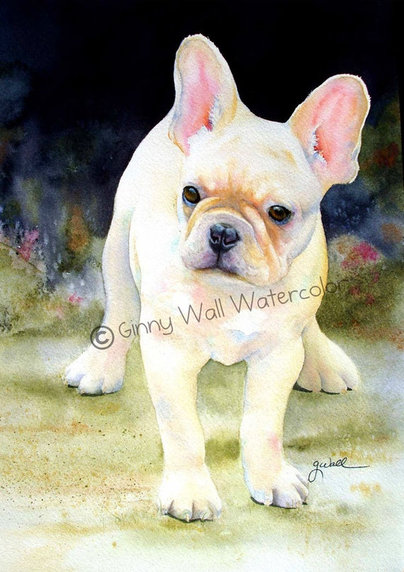 """French Bulldog Puppy titled """"Hurry Home""""   Matted PRINT by Ginny Wall"""