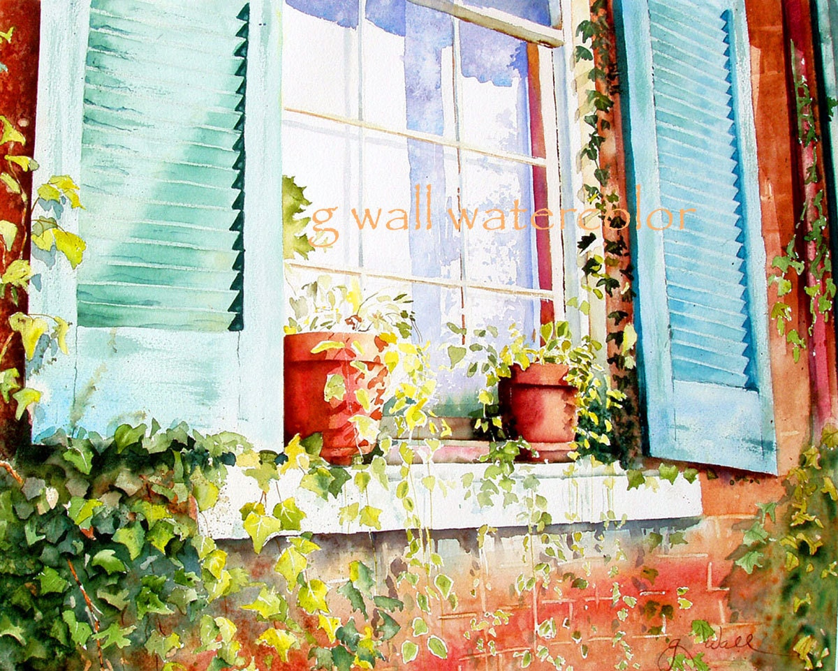 turquoise shutter matted print by ginny wall by allnaturesings