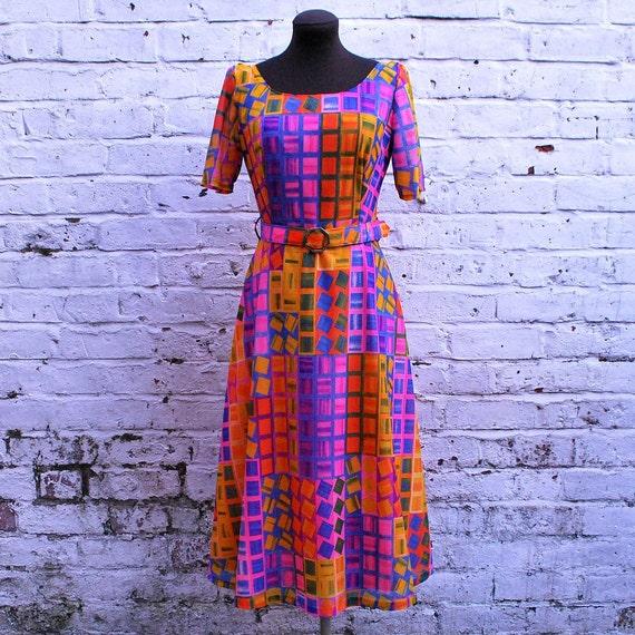 SALE - Vintage Mid Century Geometric Print Belted Dress