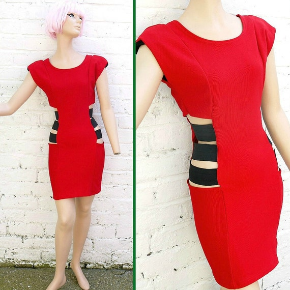 Vintage 80s 90s Rave Bright Red Stretch Body Con Mini Dress with Cut Out Sides