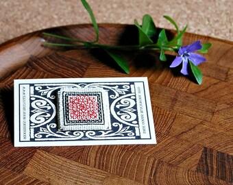 Miniature Handmade Blackwork Stickpin Red Black White Hand Stitched Lapel Pin Jewelry Tiny Stitchery Gifts Intricate Geometric Design