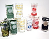 12  American Ceramic Society glasses - 1960s - annual meeting souvenirs - novelty screenprint glassware - eclectic retro tumblers