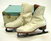 Vintage Carol Heiss white leather figure skates size 8 with metal storage case