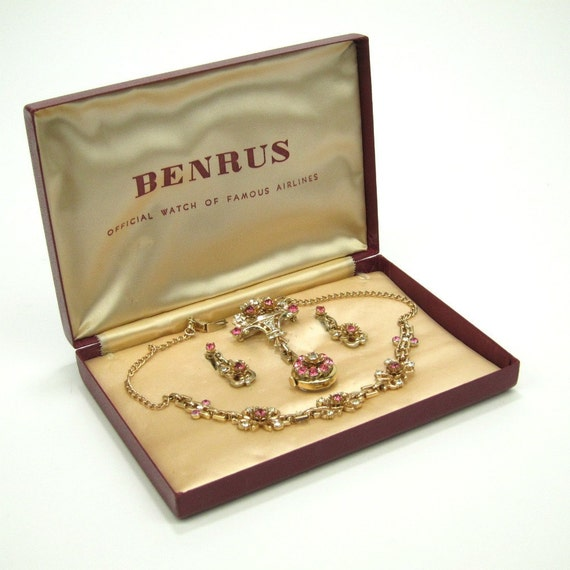 Benrus pink rhinestone brooch watch, necklace and earrings set