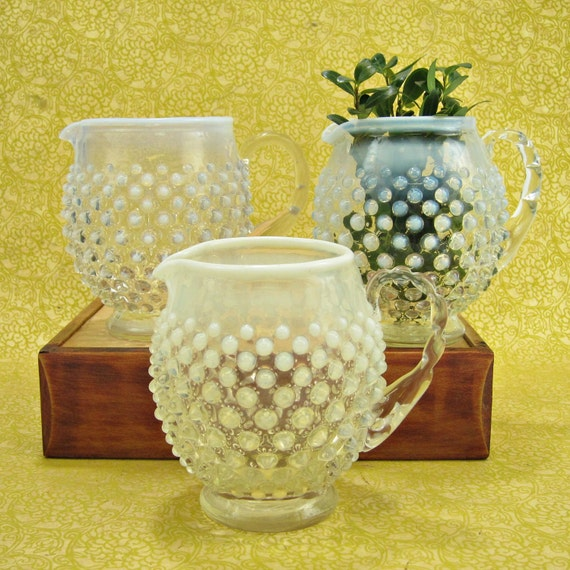 Fenton French Opalescent Hobnail squat pitchers - 3 - instant collection