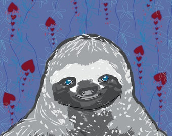 Severin the Sloth - Fine Art Print - 8 x 10