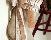 Burlap Christmas Stocking, cotton ruffles, custom, personalized