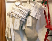Mr & Mrs. Christmas stocking, Burlap on cotton, pleats and ruffles, bows and tassels, customized name tags