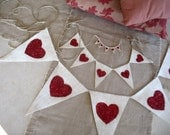 Valentine party package, cream burlap and red glitter hearts, three banners,