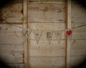 Custom monogrammed  medium burlap banners, red hearts, wedding initials bunting, olde type face lettering