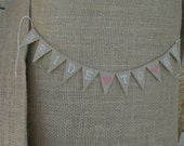 Bride to Be cake Topper Banner in tea dyed cotton, pink hearts, engagement party, bridal shower