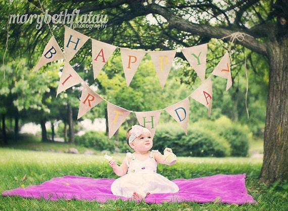 Happy Birthday Burlap Banner