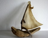 driftwood boat with a sail from genuine goatskin parchment... size 20 x 25 cm...maritime feeling for your home