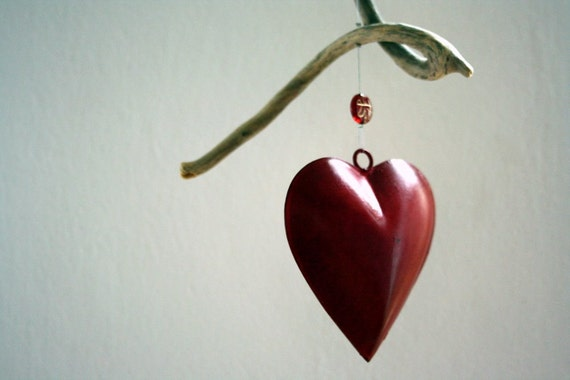 "driftwood windchime "" Valentine ""  fantastic piece of natural driftwood with a red metal heart perfect for your beloved..."