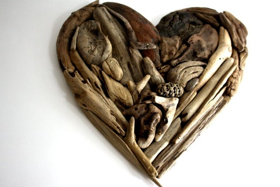 """driftwood heart  """"Valentine """" made from natural driftwood ...27x28 cm...""""I love you""""...perfect for your coastal home"""