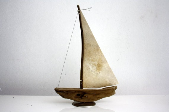 driftwood boat with a sail from genuine goatskin parchment... size 16 x 24 cm...maritime feeling for your home