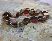 RESERVED: Red w- Gold Glass Beaded Double-Stranded Bracelet