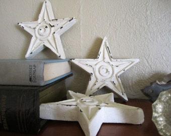3 Shabby Stars, Cottage Stars, Cottage Home Decor, Chippy Stars, Shabby Cottage Christmas