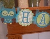 Owl Birthday Banner, Owl Happy Birthday Banner, Green and Teal Owl Banner, Boy Owl Banner, Matching Pom Poms Available