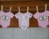 Its A Girl Butterflies Baby Shower Banner Clothespin Baby Banner, Pink baby banner, It's A Girl banner