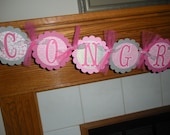 Congratulations Graduation Retirement Banner All Occations Banner Matching Tissue Pom Poms Available
