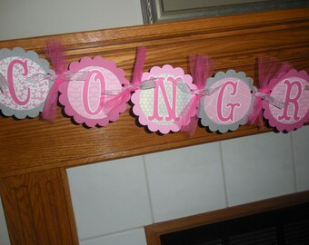 Congratulations Banner, GraduationBanner,  Retirement Banner,  Anniversary Banner, All Occations Banner Matching Tissue Pom Poms Available