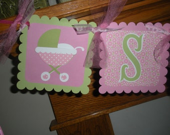 Baby Girl Banner, Baby Shower Banner, Baby Buggies Sugar & Spice Banner, Pink and Green Baby Girl Banner, Matching Tissue Pom Poms Available