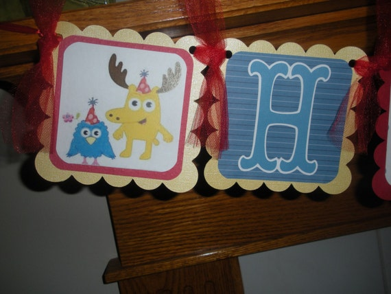 Custom listing for whomiked Themed Yo Gabba Gabba Birthday Banner and Toppers