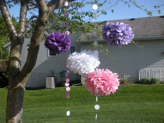 FREE GARLANDS Extra Large 12 Tissue  Paper Pom Poms You Choose your colors