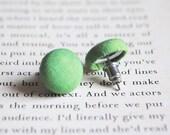 SALE Green Button Stud Earrings, Nickel Free - UK Seller