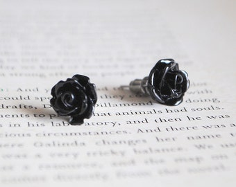 Black Rose Earrings | Nickel Free Studs | Black Flower