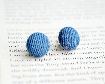 Denim Button Earrings, Upcycled, Punk Jewellery, Nickel Free Studs