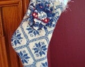 Wool FELTED CHRISTMAS STOCKING Half Sized Blue Jingle Bell Felt Sweaters Up-cycled Recycled Re-purposed Sweater Sox