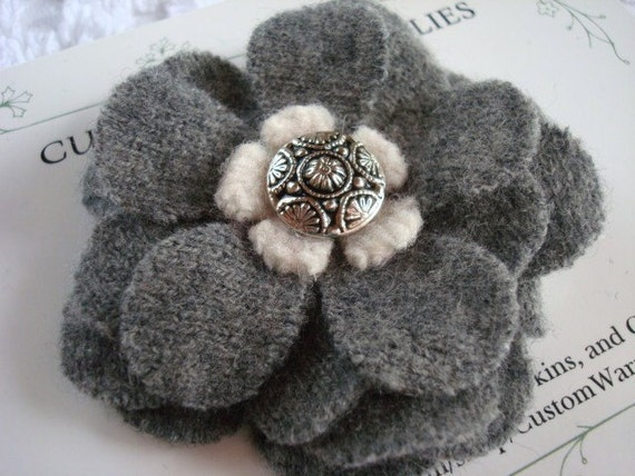 WOOL FELTED FLOWER Brooch Gray Blossom Pin Sweaters Up-cycled Recycled Re-purposed Sweater