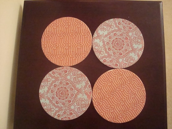blue/red patterned coasters (set of 4)