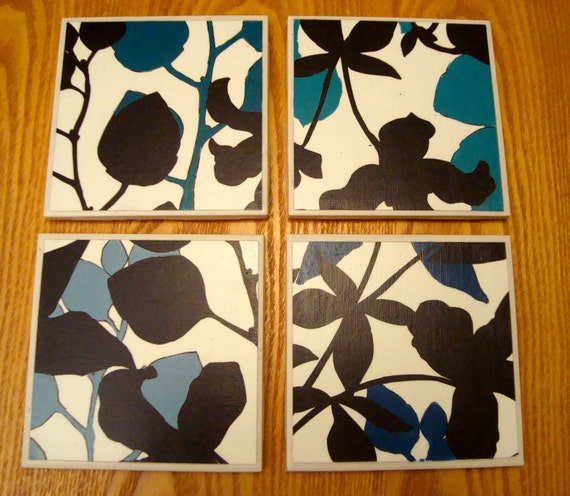 shades of blue floral coasters (set of 4)