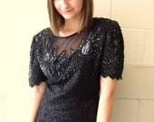 Reserved: Lidia Messing Laurence Kazar Black Sexy Mesh Sequined Blouse