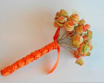 """Button flower bouquet,""""Dreamsicle"""""""