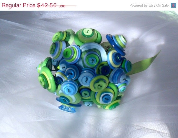 REDUCED PRICE    Button bouquet, Blues and Greens