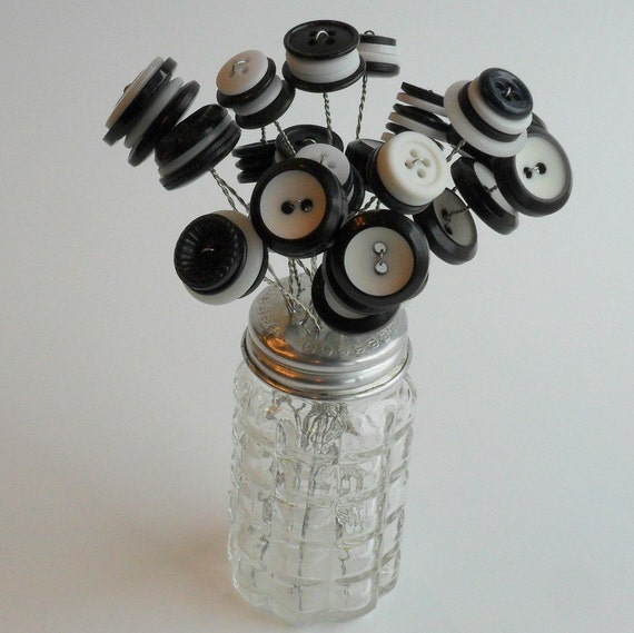 button bouquet in vintage pepper shaker