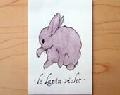 Le Lapin Violet- Mini Archival Print