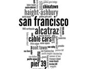 "Printable Wall Art ""San Francisco"" Collage Word Cloud Instant Download"