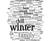 Wall Art 8x10 Print - Words About Winter - Choose Black And White or Color