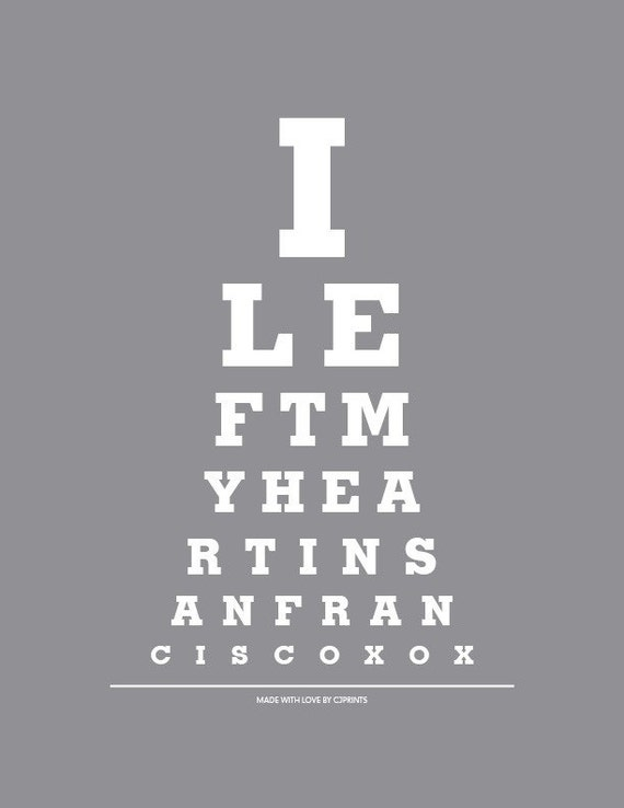 "Eye Exam Chart Print ""I Left My Heart In San Francisco"" Song Lyrics Poster"