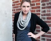 the Mildred crocheted necklace in heather grey - READY TO SHIP